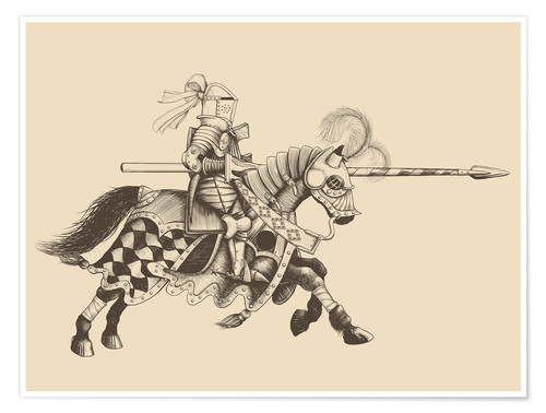 Premium poster Knight with armor and horse