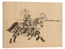 Wood print  Knight with armor and horse