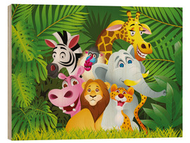 Wood print  My jungle animals - Kidz Collection