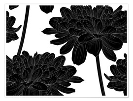 Premium poster Flowers black on white
