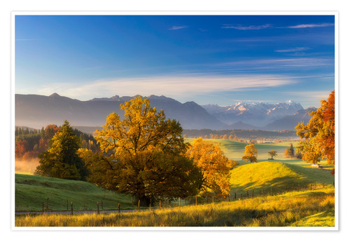Premium poster Autumn in Bavaria with view to Zugspitze
