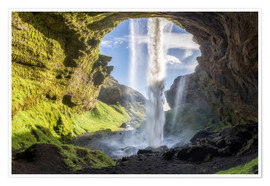 Premium poster  Kvernufoss waterfall in south of Iceland - Dieter Meyrl