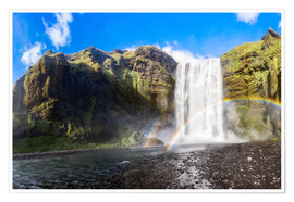 Premium poster  Skogafoss waterfall in south of Iceland - Dieter Meyrl