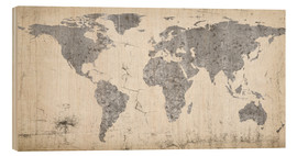 Wood print  Vintage world map