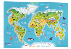 Acrylic glass  World map with animals - English - Kidz Collection