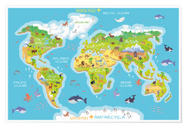 Premium poster  World map with animals - Kidz Collection