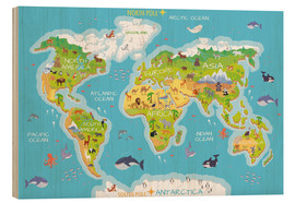Wood print  World map with animals - Kidz Collection