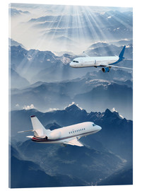 Acrylic glass  Two aircrafts over the mountains