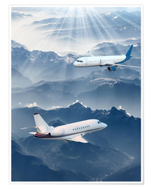 Poster  Two aircrafts over the mountains