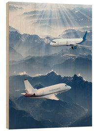 Wood print  Two aircrafts over the mountains