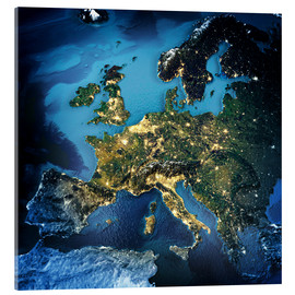 Acrylic glass  Europe from space, NASA 3D rendering
