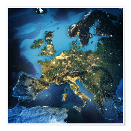 Premium poster  Europe from space, NASA 3D rendering