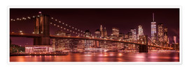 Premium poster Brooklyn Bridge and Manhattan Skyline