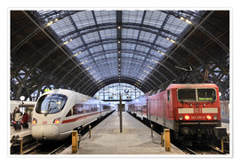 Poster  ICE and InterRegio in the central station - imageBROKER