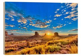 Wood print  Sunrise, mesas West Mitten Butte - imageBROKER