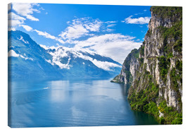 Canvas print  Summer view over of lake Garda in Italy