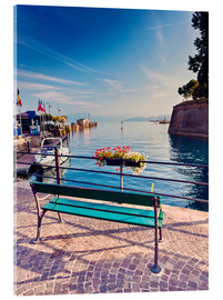 Acrylic print  Bench on the coast of Garda in Peschiera