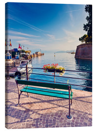 Canvas  Bench on the coast of Garda in Peschiera