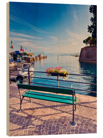 Wood  Bench on the coast of Garda in Peschiera