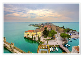 Premium poster Scaglieri castle of Sirmione on Lake Garda