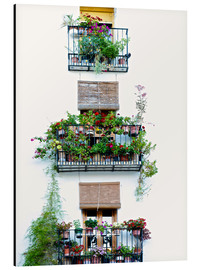 Alu-Dibond  Facade with balconies full of flowers in Valencia