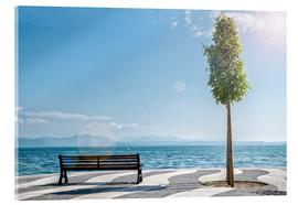 Acrylic glass  Shore of Lake Garda with Alps on the horizon
