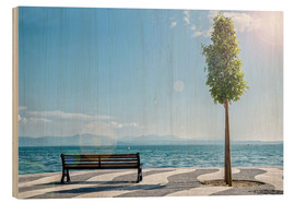Wood print  Shore of Lake Garda with Alps on the horizon