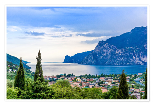 Premium poster View of Riva Del Garda and Lake Garda, Lombardy, Italy