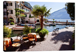 Canvas  Small café in Limone, Lake Garda