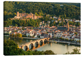Canvas print  View of the Old Town of Heidelberg from the Philosophenweg - Michael Valjak