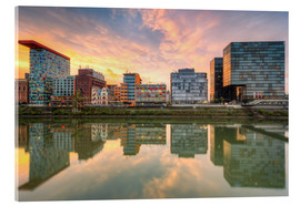 Acrylic glass  Düsseldorf Reflection in the Media Harbor at sunset - Michael Valjak