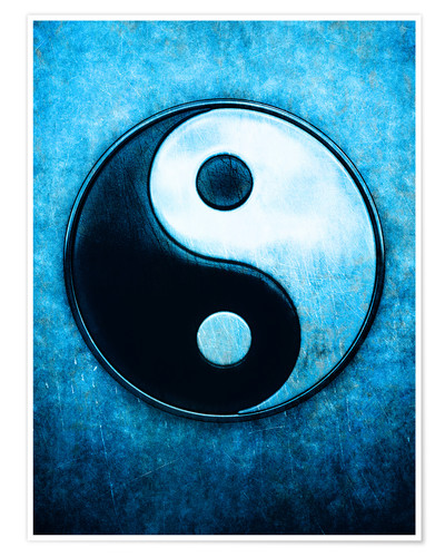 Yin Yang Scratchy Blue Posters And Prints Posterlounge Co Uk