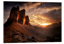 Acrylic glass  Three Peaks Dolomites Sunset - Christian Möhrle