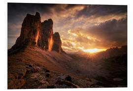 Foam board print  Three Peaks Dolomites Sunset - Christian Möhrle