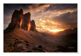 Poster Three Peaks Dolomites Sunset