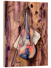 Wood print  Violin and Notes - Anastasia Mamoshina