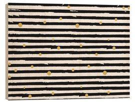 Wood print  Gold dances with black and white