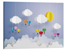 Aluminium print  Balloon ride in the clouds - Kidz Collection