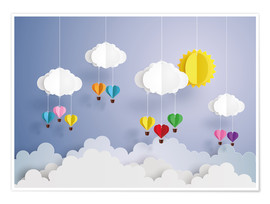 Premium poster  Balloon ride in the clouds - Kidz Collection