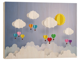 Wood print  Balloon ride in the clouds - Kidz Collection