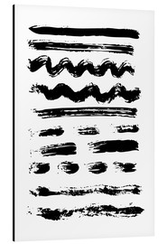 Alu-Dibond  Brush strokes black and white