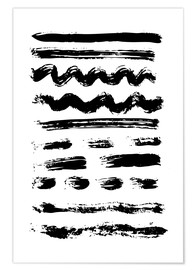 Premium poster Brush strokes black and white