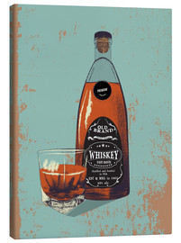Canvas print  Whiskey bottle and glass