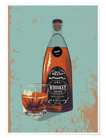 Poster  Whiskey bottle and glass