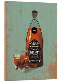 Wood print  Whiskey bottle and glass