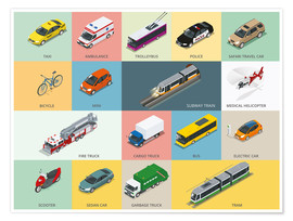 Premium poster  Colorful vehicles - Kidz Collection