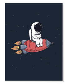 Premium poster Little astronaut with rocket