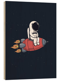 Wood print  Little astronaut with rocket - Kidz Collection