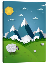 Canvas  Paper landscape with sheep - Kidz Collection