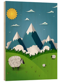 Wood print  Paper landscape with sheep - Kidz Collection